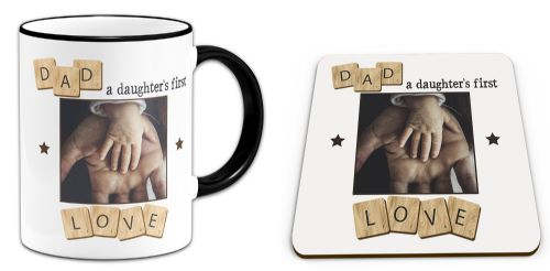 Set of Personalised Dad, A Daughter's First Love Novelty Mug & Coaster - Black Handle/Rim
